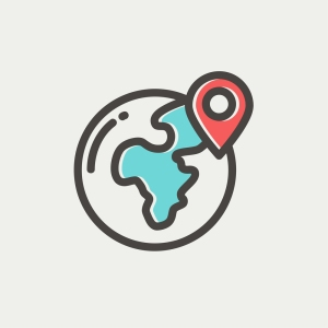Global with locator icon thin line for web and mobile, modern mi