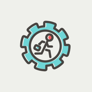 Man running inside the gear icon thin line for web and mobile, m